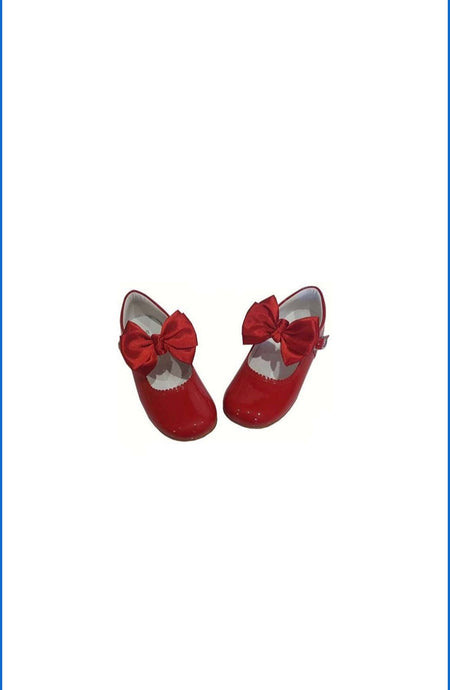 Red MARY JANES IN PATENT BUTTERFLY BOW BAMBI SHOES