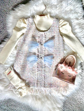 Load image into Gallery viewer, White & Blue Tilly-May Girls Tweed style two piece