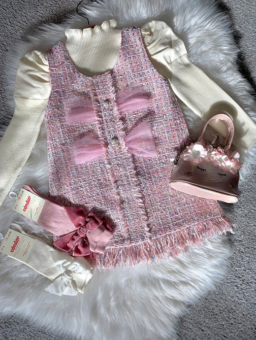 Pink Tilly-May Girls Tweed style two piece