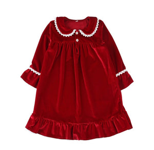 Wendy Red and white velvet girls Nightdress