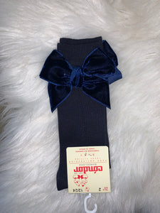 Navy Velvet Bow Cóndor Socks