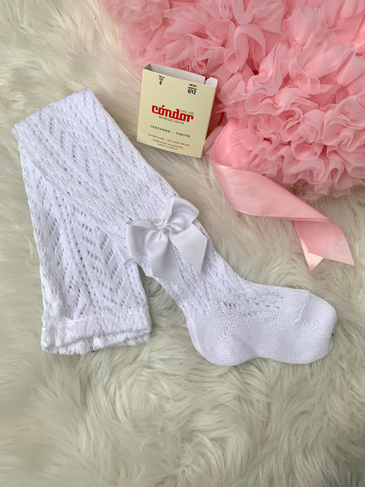 Condor White Openwork Girls Bow Tights