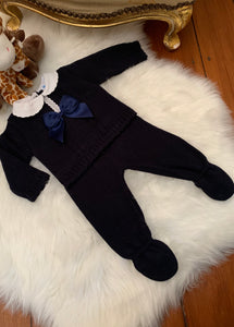 Boys Navy Oliver Bow Knitted Set
