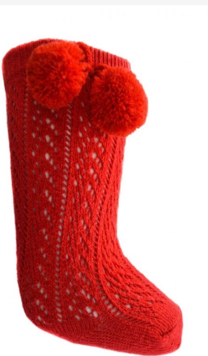 Red Pompom Socks