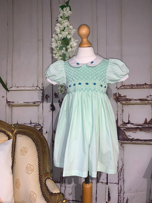 Millie Mint Girls Smock Dress