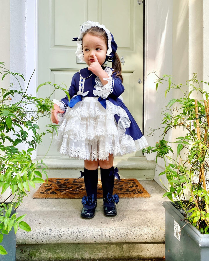 Bella NAVY Girls Exclusive puffball Dress