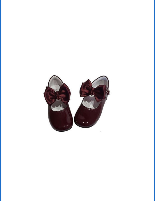 Burgundy  MARY JANES IN PATENT BUTTERFLY BOW BAMBI SHOES