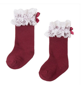 Red Knee Lace Socks