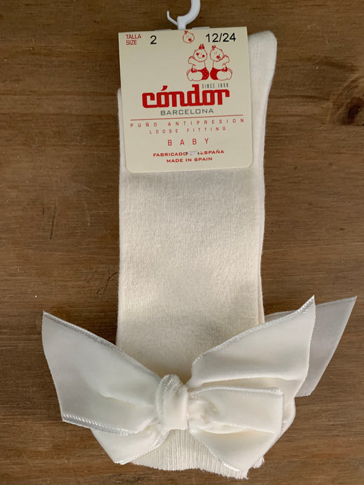 Cream & White Velvet Bow Cóndor Socks
