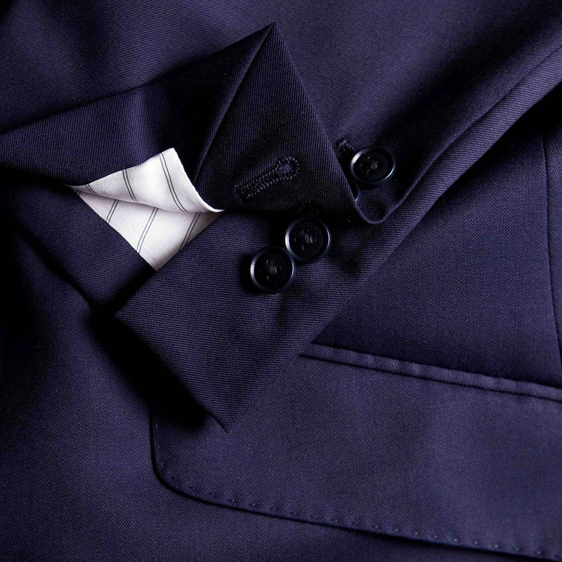 Solid Navy Conduit Cut 3 Piece Suit