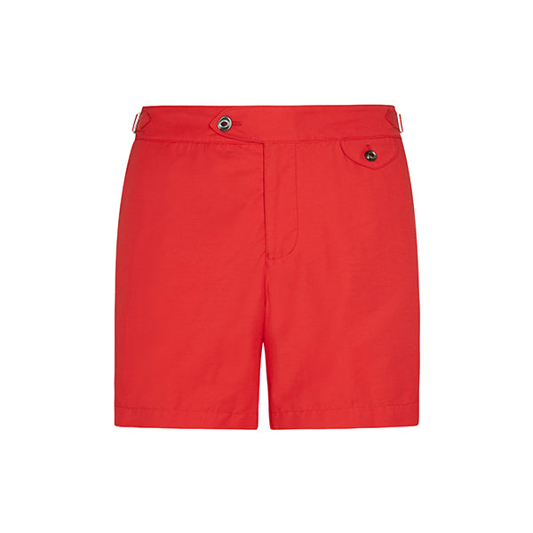 Red Twill Clipper Swim Shorts