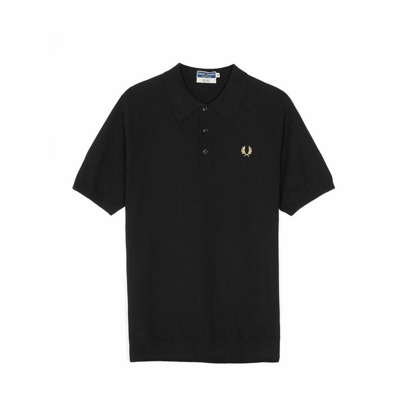 Black Raglan Knitted Polo Shirt