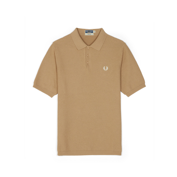 Biscuit Textured Knitted Polo Shirt