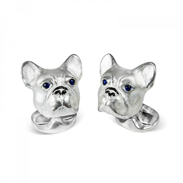 Sterling Silver French Bulldog Cufflinks