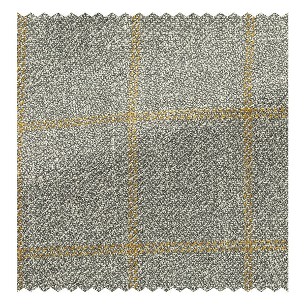 Pewter with Goldenrod Wool/Silk/Linen Windowpane Twill