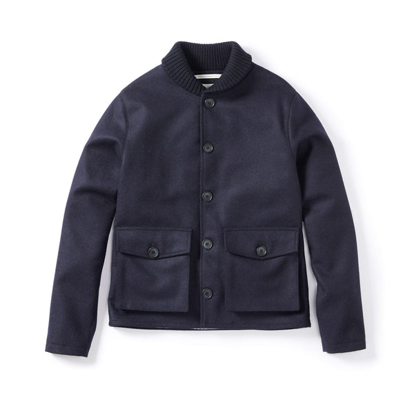 Navy Wilson Wool Shawl Coat