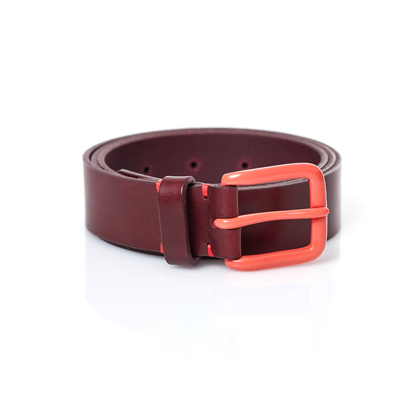 Modernist Belt in Oxblood with Terracotta