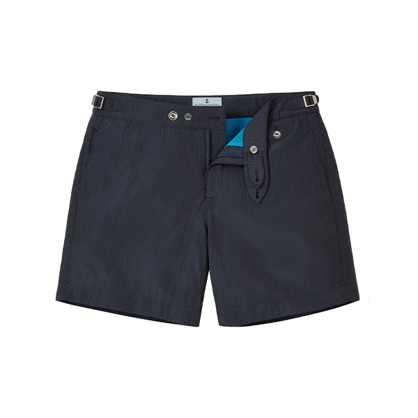 Navy Seersucker Stripe Clipper Swim Shorts
