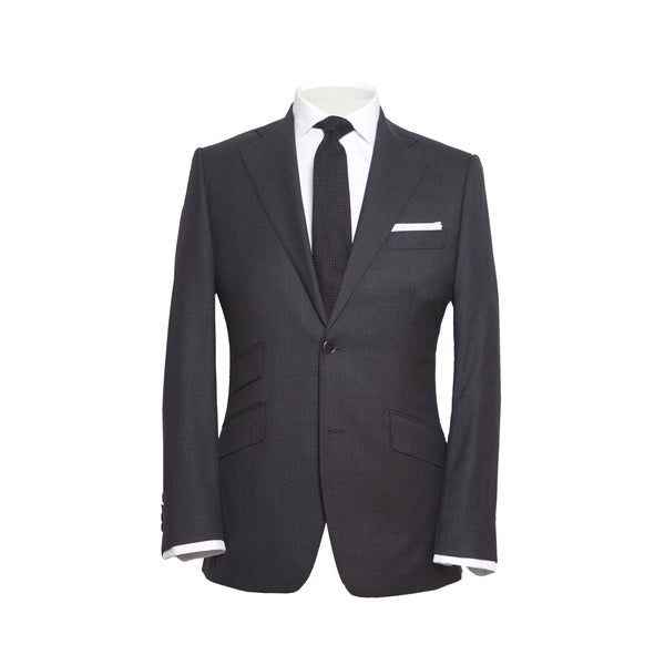 Charcoal Sharkskin Conduit Cut 2 Piece Suit