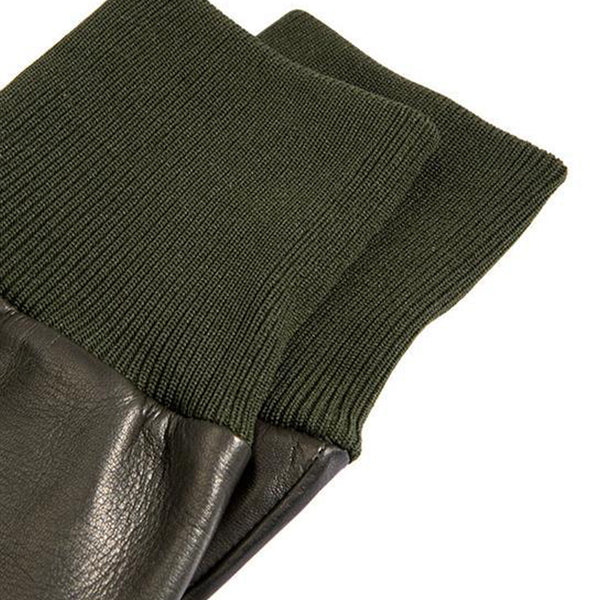 Olive Silk Lined Leather Shooting Gloves
