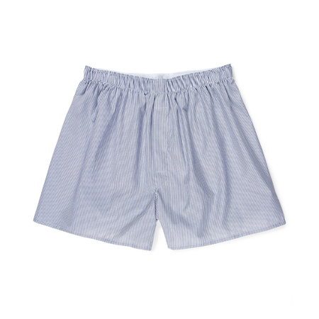 White & Navy Pinstripe Cotton Poplin Boxer Shorts
