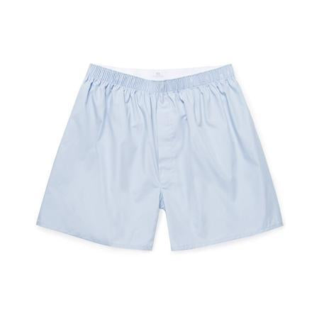 Plain Blue Cotton Poplin Long-Cut Boxer Shorts