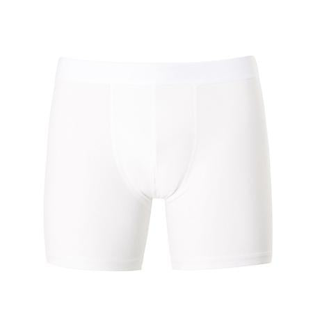 White Stretch Cotton Long Leg Trunks