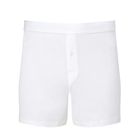 White Superfine Cotton One-Button Shorts