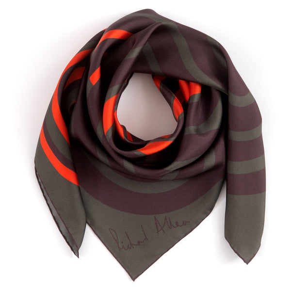Vermillion Circuit Silk Scarf