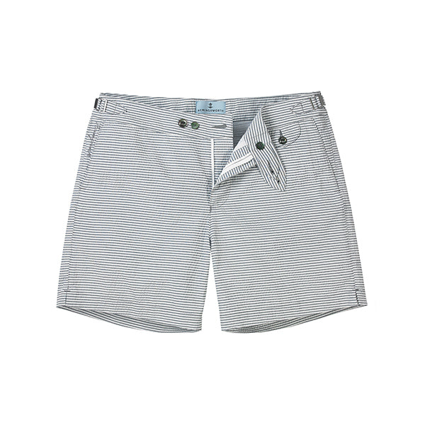 Blue Seersucker Stripe Clipper Swim Shorts