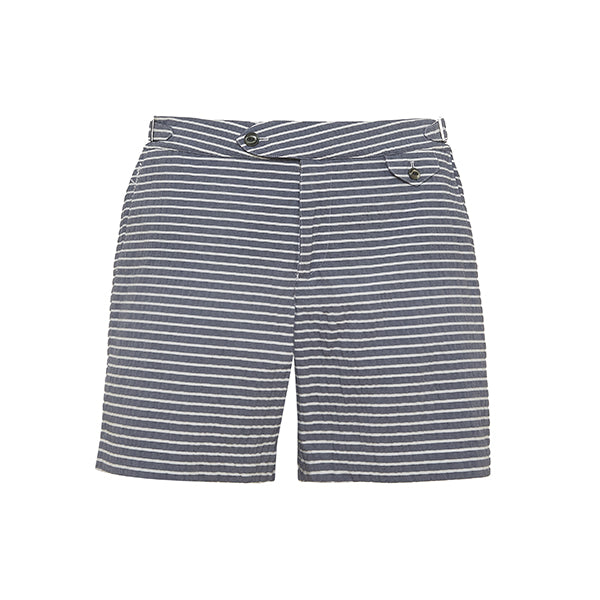 Navy White Seersucker Stripe Clipper Swim Shorts