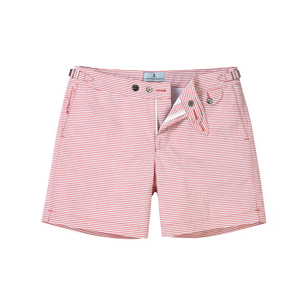 Pink Seersucker Stripe Clipper Swim Shorts