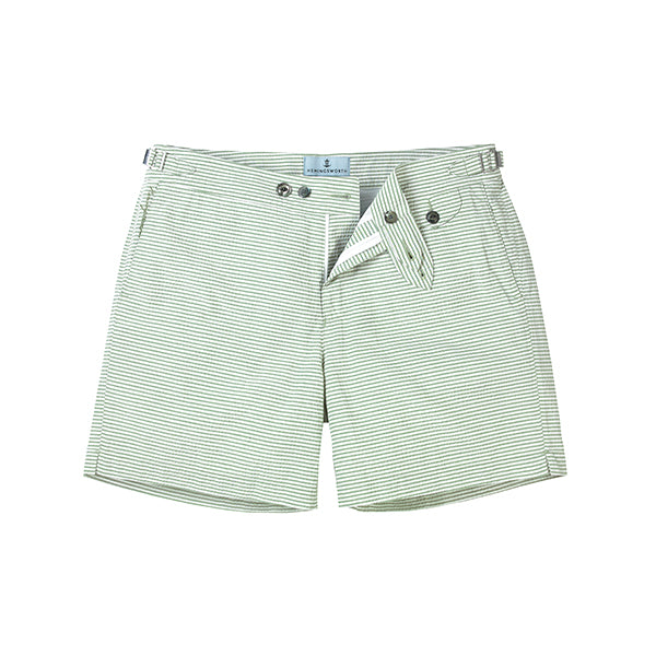 Green Seersucker Stripe Clipper Swim Shorts