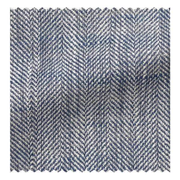 Blue & White Slubbed Silk/Linen/Cotton Herringbone