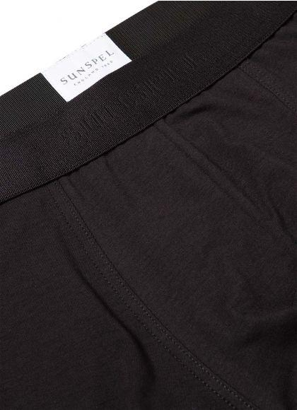 Black Stretch Cotton Low Waist Trunk