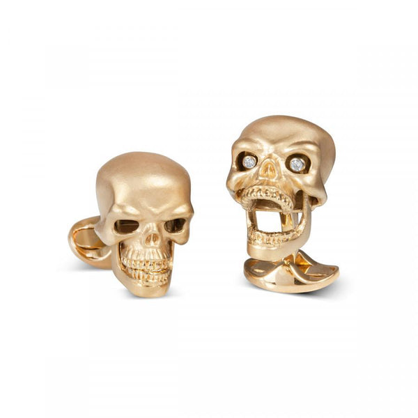 Gold Plated Sterling Silver Diamond Eyed Skull Cufflinks