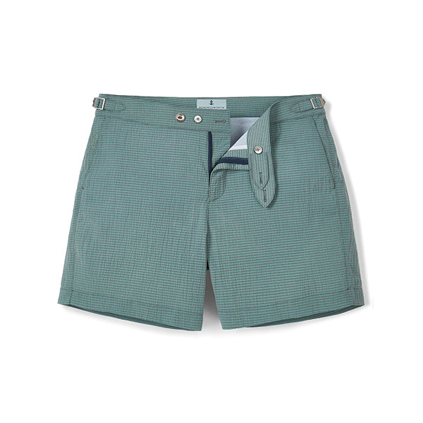 Dark Green Seersucker Stripe Clipper Swim Shorts