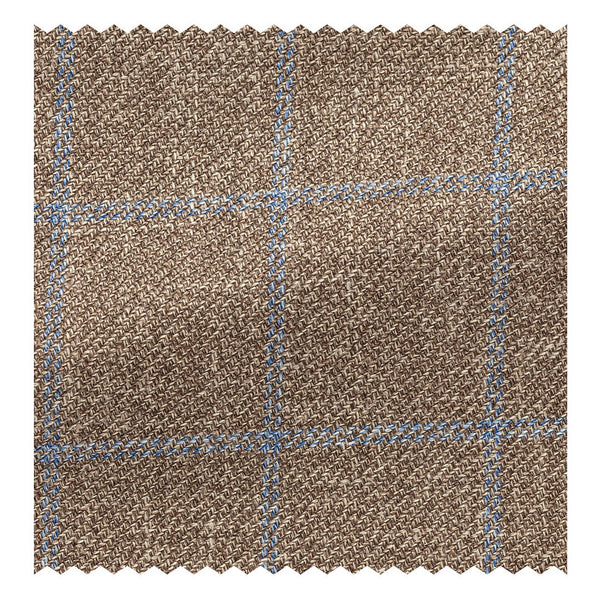 Taupe with Blue Wool/Silk/Linen Windowpane Twill