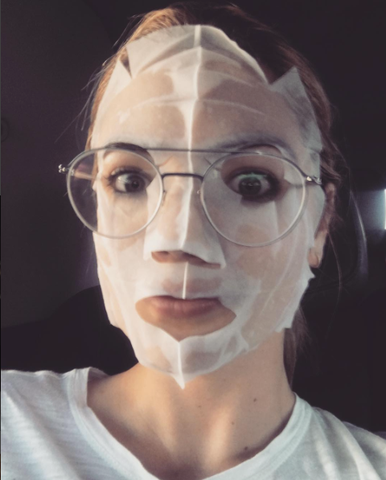 Kate Upton wearing a sheet mask