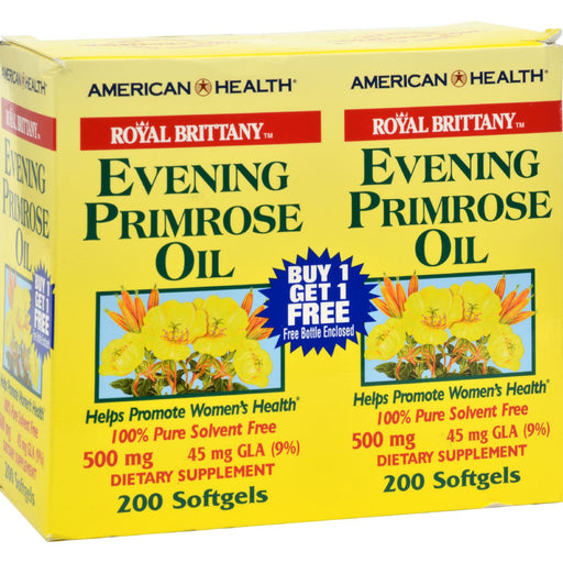 American Health - Royal Brittany Evening Primrose Oil - 500 Mg - 2 Bottles Of 200 Softgels