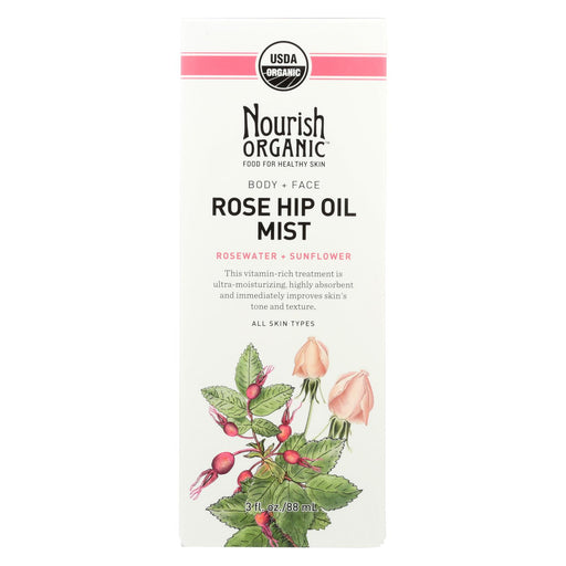 Nourish Organic Body Oil Mist - Rejuvenating Rose Hip And Rosewater - 3 Oz