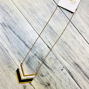 Black & Gold Chevron Necklace