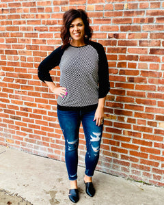 Black Stripe Button Sleeve Top