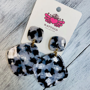 Double Square White & Black Earrings