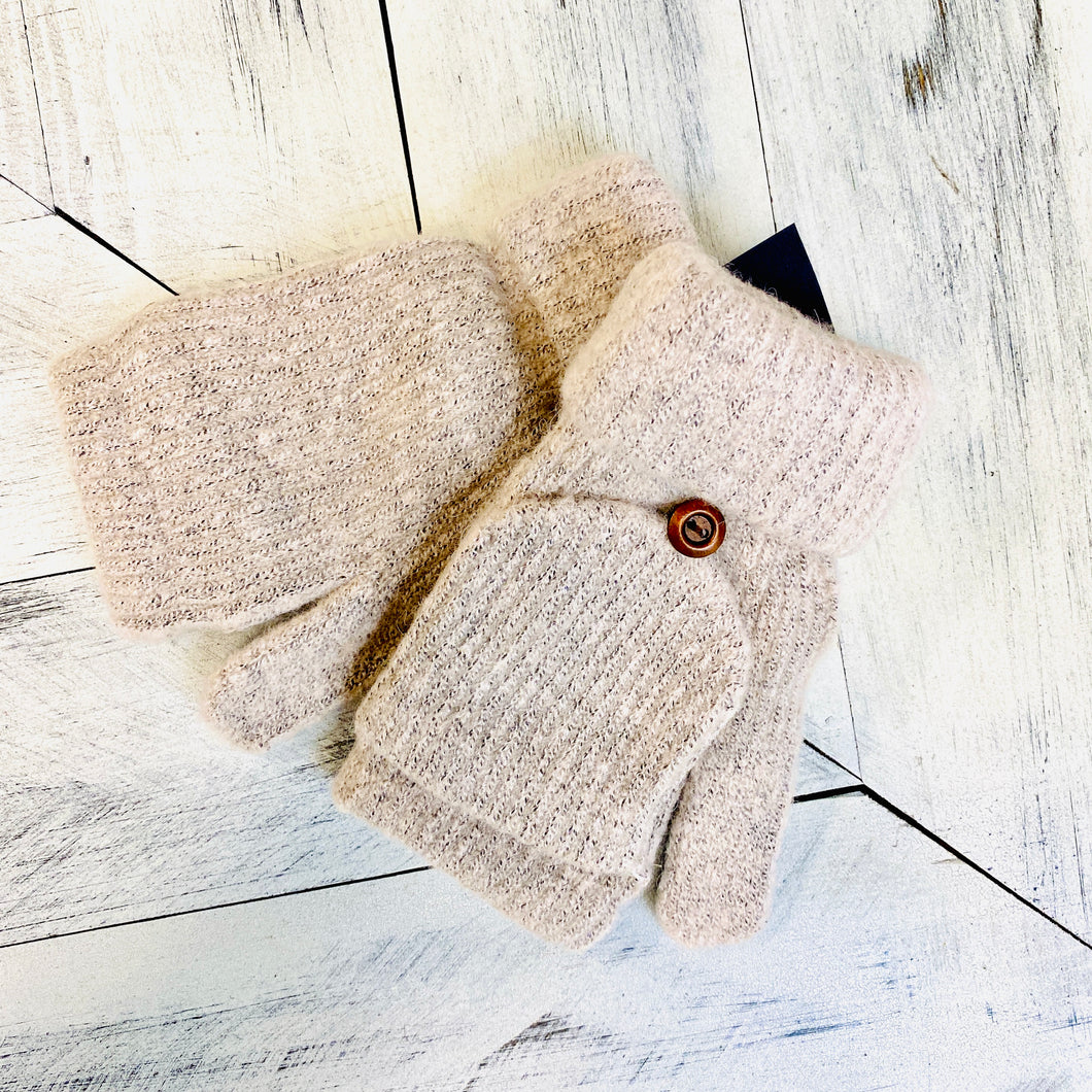 Light Gray Button Mittens