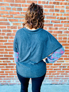 Red & Charcoal Chevron Top