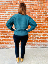 Load image into Gallery viewer, Hunter Green Bubble Sleeve Sweater