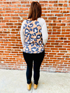 Camel Leopard Top