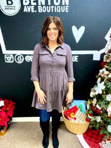 Charcoal Button Down Tunic