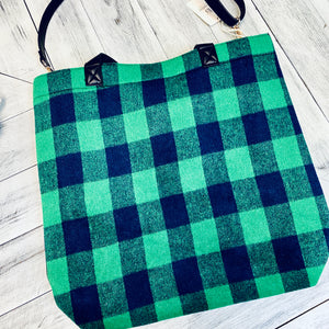Green Plaid Tote